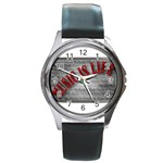 Music-Is-Life-Belt-Buckle Round Metal Watch
