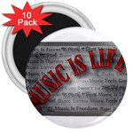 Music-Is-Life-Belt-Buckle 3  Magnet (10 pack)