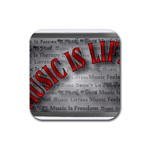 Music-Is-Life-Belt-Buckle Rubber Square Coaster (4 pack)