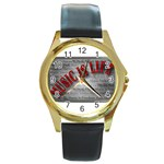 Music-Is-Life-Belt-Buckle Round Gold Metal Watch