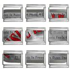 Music-Is-Life-Belt-Buckle 9mm Italian Charm (9 pack)