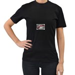 Music-Is-Life-Belt-Buckle Women s Black T-Shirt (Two Sides)