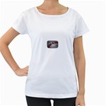 Music-Is-Life-Belt-Buckle Maternity White T-Shirt