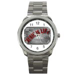 Music-Is-Life-Belt-Buckle Sport Metal Watch