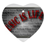 Music-Is-Life-Belt-Buckle Heart Ornament (Two Sides)
