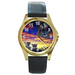 2-77-Animals-Wildlife-1024-010 Round Gold Metal Watch