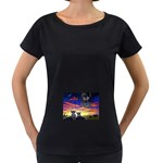 2-77-Animals-Wildlife-1024-010 Maternity Black T-Shirt