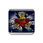 Mind_-Body-_-Soul-Tattoo-Belt-Buckle Rubber Coaster (Square)