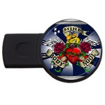 Mind_-Body-_-Soul-Tattoo-Belt-Buckle USB Flash Drive Round (1 GB)