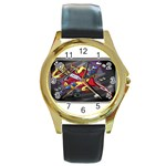 Love-Hurts-Tattoo-Chrome-Belt-Buckle Round Gold Metal Watch