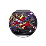 Love-Hurts-Tattoo-Chrome-Belt-Buckle Rubber Round Coaster (4 pack)