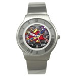 Love-Hurts-Tattoo-Chrome-Belt-Buckle Stainless Steel Watch