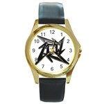 lark48B Round Gold Metal Watch