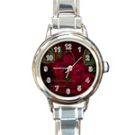 apoth_rose_v Round Italian Charm Watch