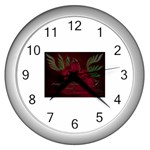 apoth_rose_v Wall Clock (Silver)