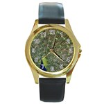 bird_15 Round Gold Metal Watch