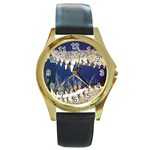 Croc Round Gold Metal Watch