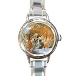 tiger_4 Round Italian Charm Watch