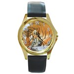 tiger_4 Round Gold Metal Watch