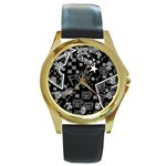 wallpaper_12647 Round Gold Metal Watch