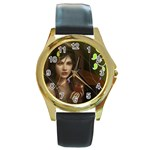 wallpaper_15924 Round Gold Metal Watch