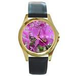 wallpaper_19193 Round Gold Metal Watch