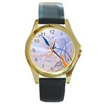6 Round Gold Metal Watch