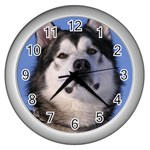 Alaskan Malamute Dog Wall Clock (Silver)