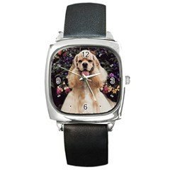 Cocker Spaniel Dog Square Metal Watch from www.uniquelyartful.com Front