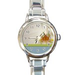 Wedding Orchid Round Italian Charm Watch