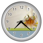 Wedding Orchid Wall Clock (Silver)
