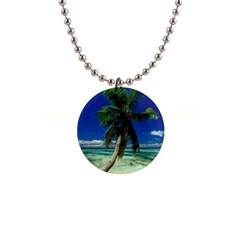 Lone Palm Tree 1  Button Necklace from www.uniquelyartful.com Front
