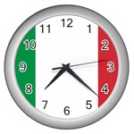 Italian Flag Wall Clock (Silver)