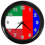 Italian & Russian Flag Wall Clock (Black)