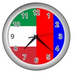 Italian & Russian Flag Wall Clock (Silver)