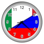 Italian & Russian Flag (diag) Wall Clock (Silver)