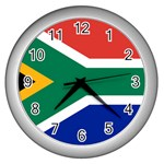 South African Flag Wall Clock (Silver)