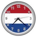 Dutch (Netherlands) Flag Wall Clock (Silver)