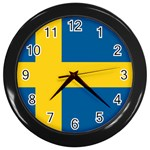 Swedish Flag Wall Clock (Black)