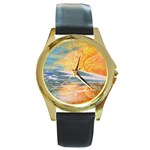 Fantasy Acid Iceberg Surprise Round Gold Metal Watch