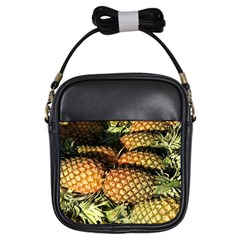 Pineapple Fruit in Pile Girls Sling Bag from DesignMonaco.com Front