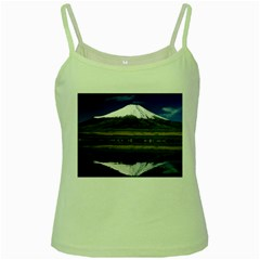 Mount Fuji in Japan Green Spaghetti Tank from DesignMonaco.com Front