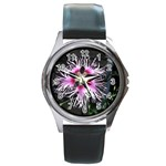 Wispy Flower Round Metal Watch