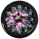 Wispy Flower Wall Clock (Black)