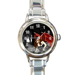 Crimson Wings Round Italian Charm Watch