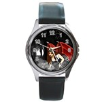 Crimson Wings Round Metal Watch