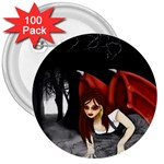 Crimson Wings 3  Button (100 pack)