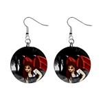 Crimson Wings 1  Button Earrings