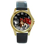Crimson Wings Round Gold Metal Watch