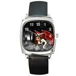 Crimson Wings Square Metal Watch
